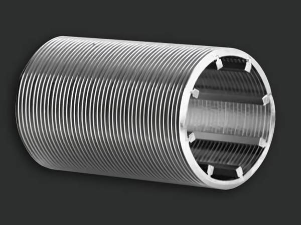 A wedge wire screen tube with trapezoid bar on the gray background.